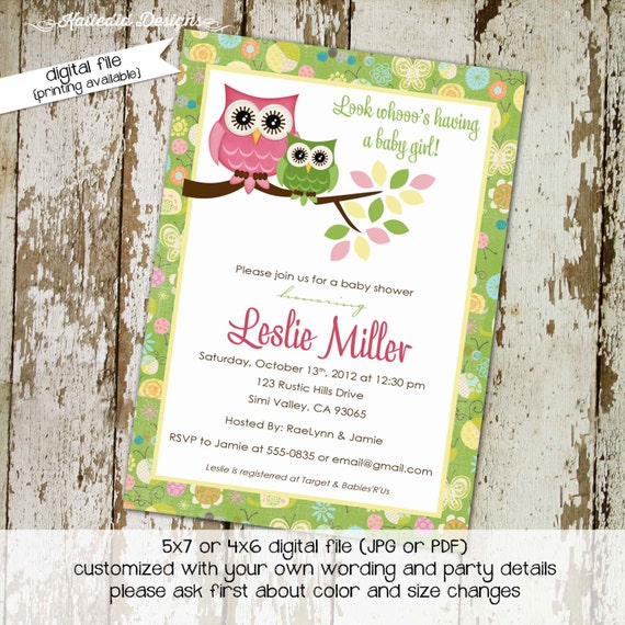 owl baby shower invitation owl first birthday baby girl shower green pink baby sprinkle gender reveal (item 131) shabby chic invitations