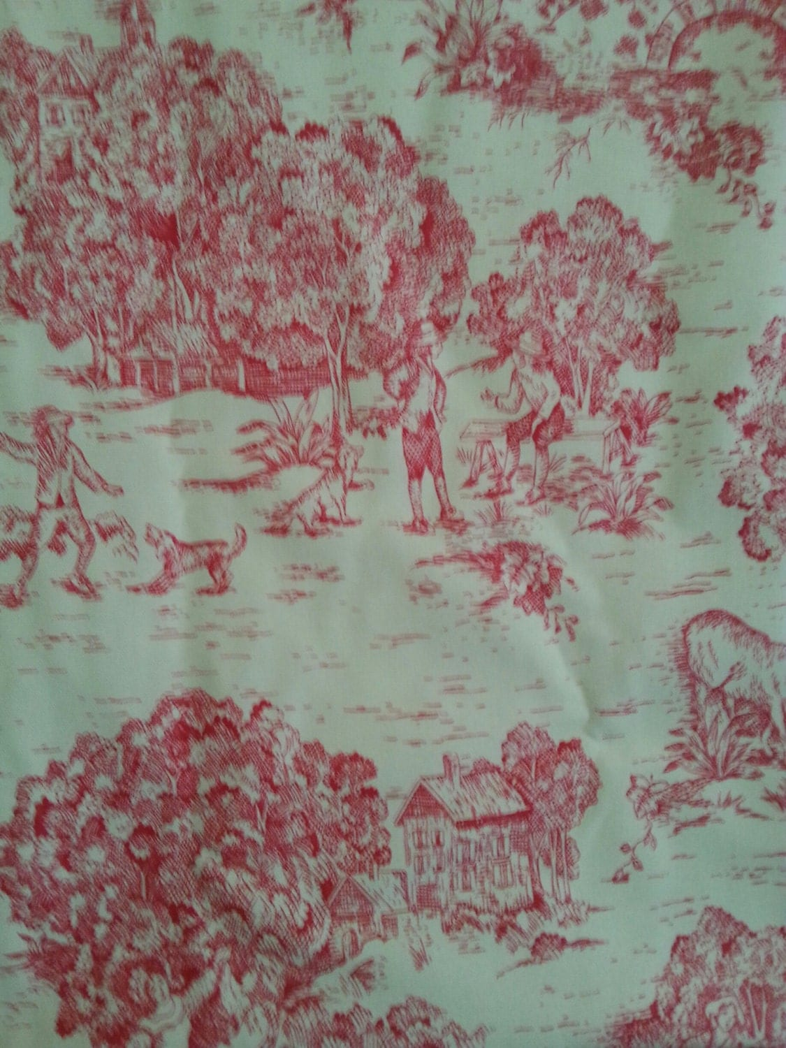 Country Fuchsia Toile Home Decorating Fabric 56 Wide