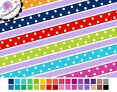 Colorful Dotty Digital Ribbons - Digital Border - Instant Download - Commercial Use