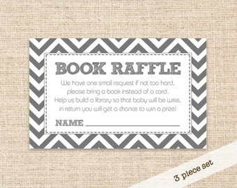 Grey Chevron Book Raffle Ticket for a Baby Shower - Book Raffle Game and Signs Set