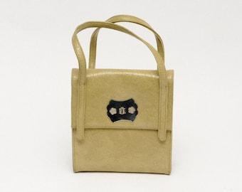 50% OFF - 60's bag: handbag, beige, mod retro, vegan plastic leather, stressed leather, flower power, taupe, mexican bag.