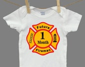 Monthly Baby Sticker Boy Fireman Firefighter Month Decal