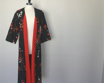 READY to SHIP Medium Kimono Robe Flannel LINED. Bathrobe. Dressing Gown. Modern Kimono Garden Black. Knee Length.