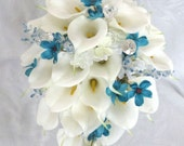 Reserved Calla lily and hydrangea cascading wedding bouquet 5 piece set with turquoise cosmos and gem accents