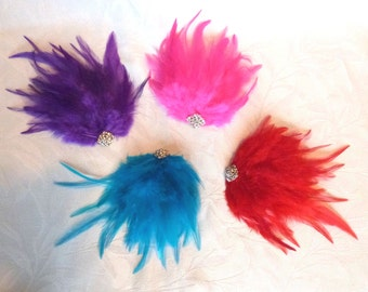 Feather hair clip your choice of 4 colors purple pink red turquoise feathers