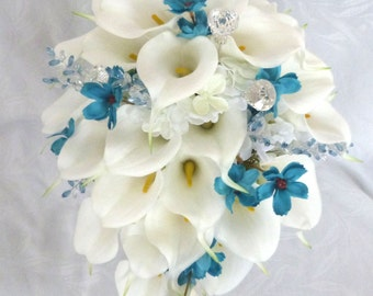 Calla lily and hydrangea cascading wedding bouquet 4 piece set with turquoise cosmos and gem accents