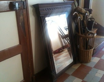 Antique French Large Ornate Mirror With Wood Surround Circa 1900's / English Shop