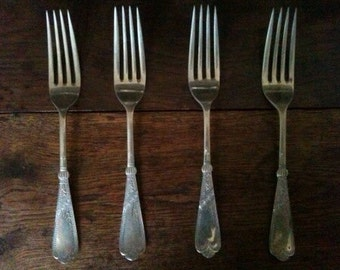 Antique Detailed Forks Cutlery Silverware Flatware circa 1900's / English Shop