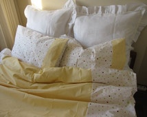 UK Single Twin XL duvet cover with pillow cover college dorm room Girl bedding White yellow Pink polka dot romantic,Shabby chic bedding