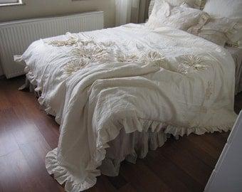 Dahlia Flower Applique Bohemian bedding shabby chic duvet cover bedspread - QUeen King neutral cotton Linen custom bedding  Nurdanceyiz