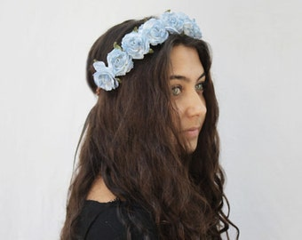 Light Blue Rose Crown, Blue Flower Crown, Blue Rose Headband, Light Blue Flower Crown, Flower Crown, Floral Crown, Festival Clothing, Boho
