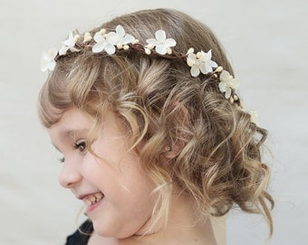 Flower Girl Flower Crown, Ivory, Flower Girl Headpiece, Flower Girl Hair Wreath, Flower Girl Headpiece, Flower Girl Floral Crown, Child Size