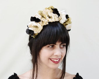 Black and White Day of the Dead Headpiece, Costume, Frida Kahlo Flower Crown, Floral Headband, Floral Headpiece, Mexican, Sugar Skull, Crown