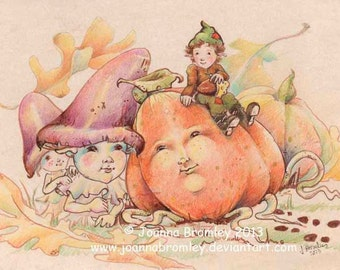 Harvest Meet-original Halloween Thanksgiving ink illustration, whimsical magical autumn fall elf gnome drawing