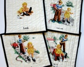 Quilted Mug Rugs Table Toppers Set of 4 Wall Hanging Teacher Gift