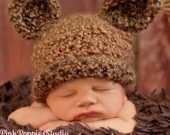 Crochet fuzzy baby bear beanie, cub beanie, bear hat newborn prop, photo prop, baby shower gift, baby prop for photography