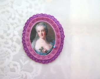 Manon Balletti by Jeanmarc Nattier - museum genre painting brooch - felt brooch with lady portrait - pink and phlox - gift for her