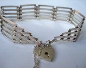 Vintage Sterling Gate Link 5 Bar Bracelet with Heart Padlock 1977
