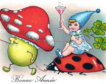 New Year Card - Fairy Rides Ladybug with Mushroom Man and Clovers