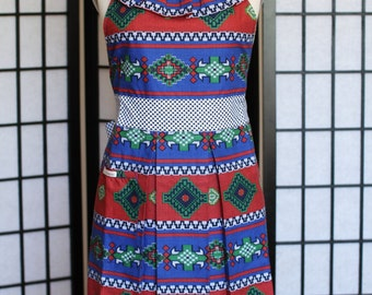 Apron Dress - Ruffle Neckline with Pleated Skirt in African Pattern - style ONNA - FULLY LINED