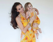 CUSTOM Wide Leg Palazzo Halter Jumpsuit, Silk Paisley, Mama matches Daughter