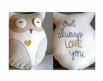 Owl Always Love You -- Small Plush Owl Lovey in Gray, Tan, and Sage -- Woodlands Nursery