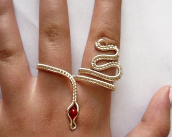 Wire wrapped Two Finger Snake Ring