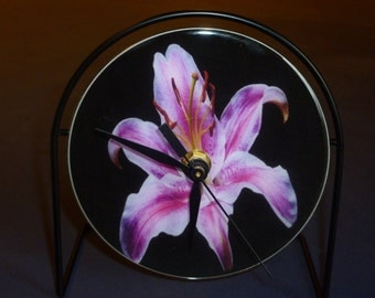 Lily Flower  Recycled CD Clock Art