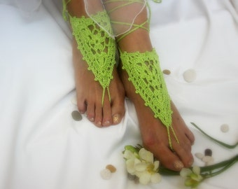 Barefoot  cotton crochet sandals Crochet foot jewelry