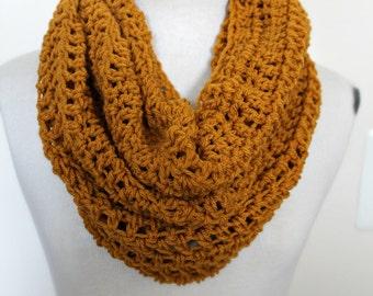 Mustard Cowl Scarf | Yellow Crochet Scarf | Mustard Scarf