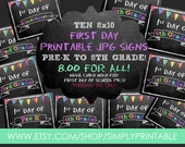 Printable 1st Day of School Signs (SALE!) Pre-k to 8th Grade (8x10) - INSTANT DOWNLOAD