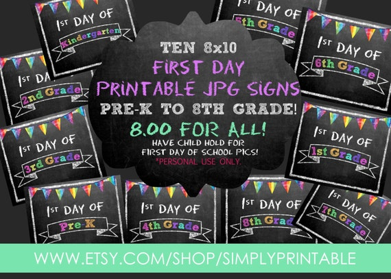 SALE! Printable First Day of School Signs Pre-k to 8th Grade (8x10) - INSTANT DOWNLOAD