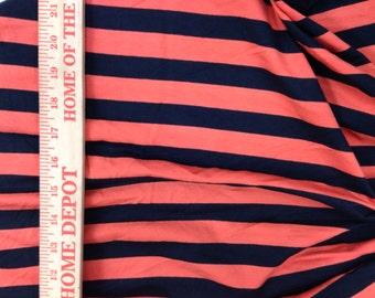 "Apx. 7/8"" Orange and Black  Cotton Lycra Stripe Knit Fabric"