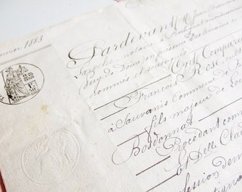 Antique French Marriage certificate 1883 Pink handwriting script