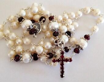 Catholic Rosary Pearl, Garnet Crucifix, Prayer Beads, Rosary Necklace, Catholic Gift, 5 decade, January Birthstone