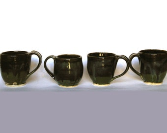 Set of Four Black and Green Mugs