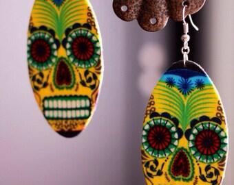 Yellow Sugar skull earrings (dia de los muertos)