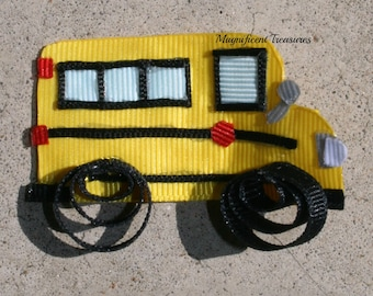 School Bus Ribbon Sculpture Hair Clip