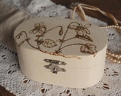Personalized Jewelry box / Personalised jewellery box, RESERVED for Sue, flower wooden trinket box engraved with pyrography