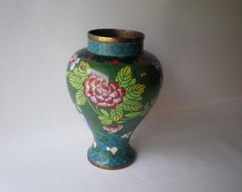 Nice Vintage Brass Enamel Vase