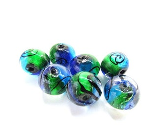 7 Large Blue and Green Round Silver Foil Lampwork Beads Stunning