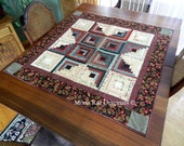 "Log Cabin Star 42""  Inch  Wall Hanging - Table Topper ~ OOAK"