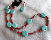 Necklace And Earring Set Reconstructed Turquoise And Coral