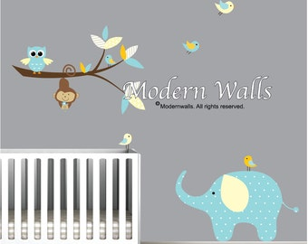 Wall Decals Branch with Elephant Monkey-Vinyl Wall Decals