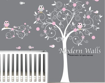 Decals Stickers Vinyl Wall Decal Tree Branch Owls-e30
