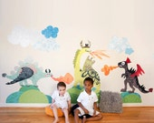 Dragons-2-Dinosaurs LARGE Eco-Friendly Reusable Fabric Wall Decals by Pop & Lolli
