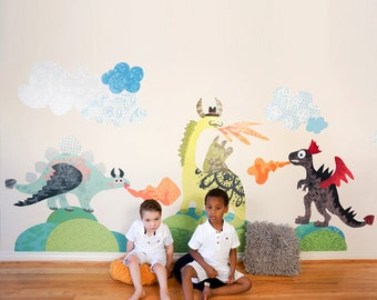 Dragons-2-Dinosaurs Eco-Friendly Reusable Fabric Wall Decals by Pop & Lolli