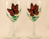 Monarch Butterfly Hand Painted Wine Glasses