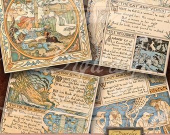 AESOP FABLES (6) - Digital Collage Sheet - Art Nouveau Square Cards 4 inch & Squares 2 inch - Buy 3 Get 1 Extra Free - Direct Download