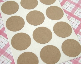63 Blank Kraft Round Sticker Seals 1 inch